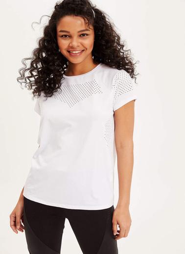 DeFacto Baskılı Kısa Kollu T-shirt Beyaz
